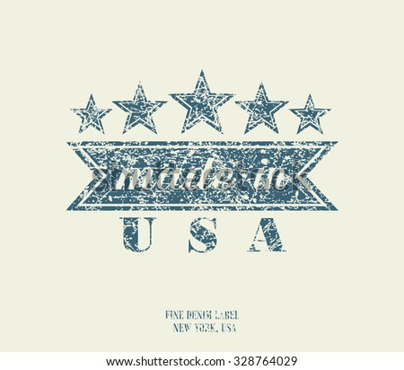 Vintage Denim Typography, Made in USA, vector - stock vector