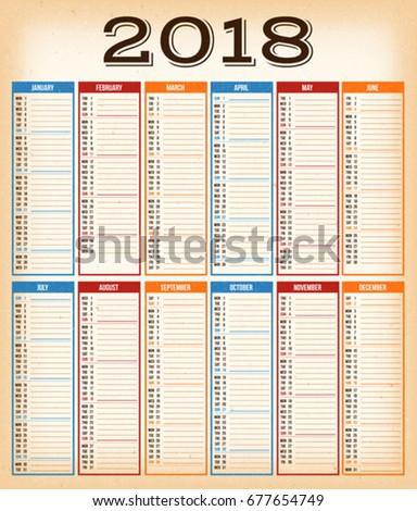 2018 quarters calendar