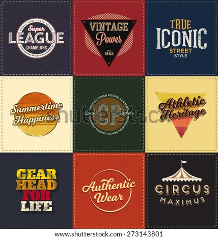 Vintage Design Collection - Retro Typographic Design Set - Classic look ideal for screen print shirt design - stock vector