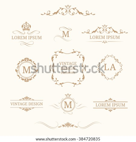 Vintage design elements and monograms. Decorative elements for invitations, menus, labels. Wedding monograms. Calligraphic elegant ornament.  - stock vector