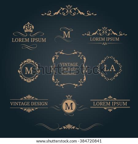 Vintage design elements and monograms. Decorative elements for invitations, menus, labels. Wedding monograms. Calligraphic elegant ornament.  - stock vector