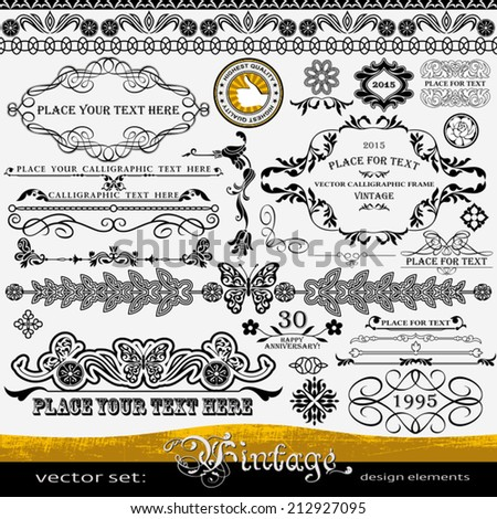 Vintage design elements: butterfly and flowers ornaments, artistic isolated dividers, corners, creative style page decorations, highest quality, retro set of floral patterns templates and layouts - stock vector
