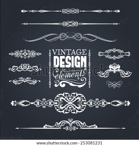Vintage design elements, chalkboard concept - stock vector