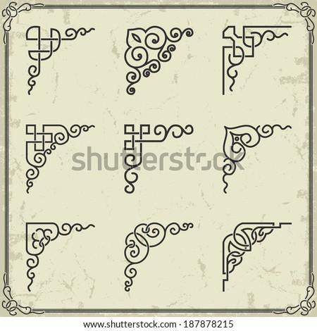 Vintage design elements corners - stock vector