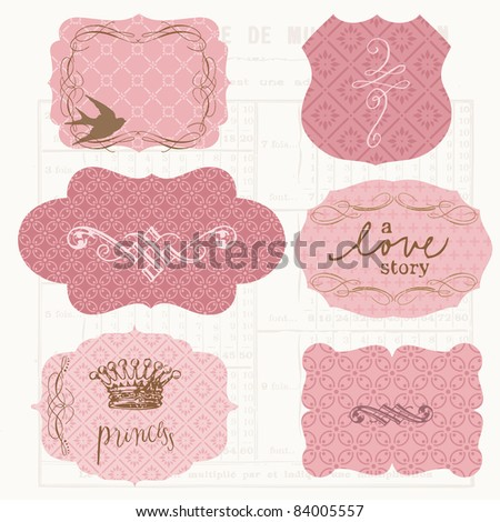 Vintage Design elements for scrapbook - Old tags and frames - stock vector