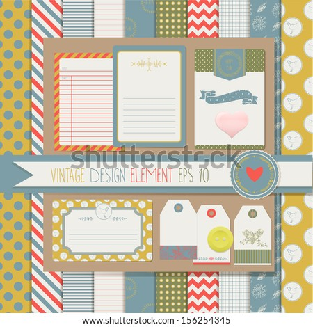 Vintage Design Elements for Scrapbook with seamless pattern, gift tags and  journey card