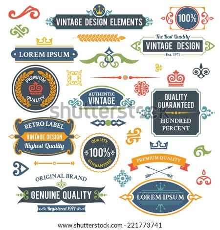 Vintage design elements frames and ornaments set isolated vector illustration - stock vector
