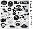 Vintage Design Elements. Labels In Retro And Vintage Style Isolated On Gray Background. Vector Illustration, Graphic Design.Lot Of Elements Useful For Design. Retro Styled Design. Shopping Labels - stock vector