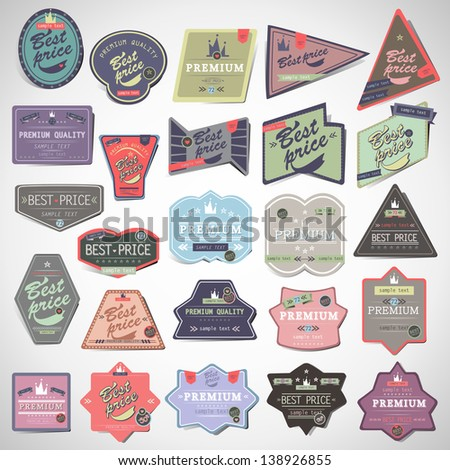 Vintage Design Elements. Labels In Retro And Vintage Style Isolated On Gray Background. Vector Illustration, Graphic Design.Lot Of Elements Useful For Design. Logo Symbols  - stock vector