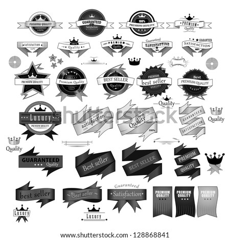 Vintage Design Elements. Labels In Retro And Vintage Style Isolated On White Background. Vector Illustration, Graphic Design.Lot Of Useful Elements. Collection Of Retro Vintage Styled, Logo Symbols - stock vector