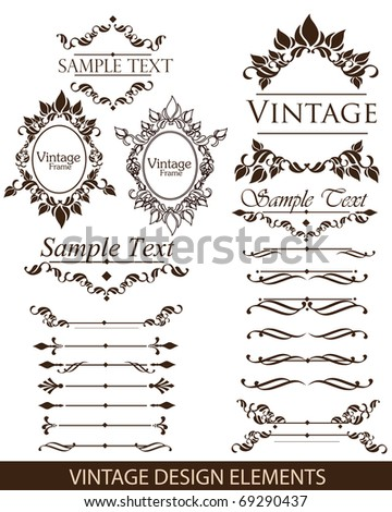 Vintage design elements: ornaments,frames and dividers - stock vector