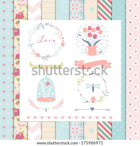 Vintage Design Elements: Rose Pattern, frames and cute seamless backgrounds. For design or scrap booking. - stock vector