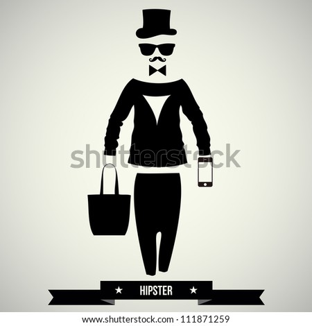 Vintage design elements set (hats/glasses/singl asses/mustaches/bow  ties) - vector illustration. - stock vector