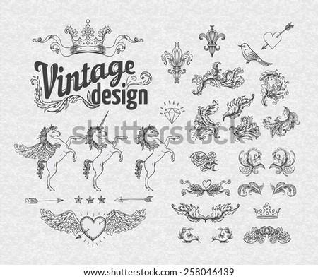 Vintage design elements set. Vector illustration. - stock vector