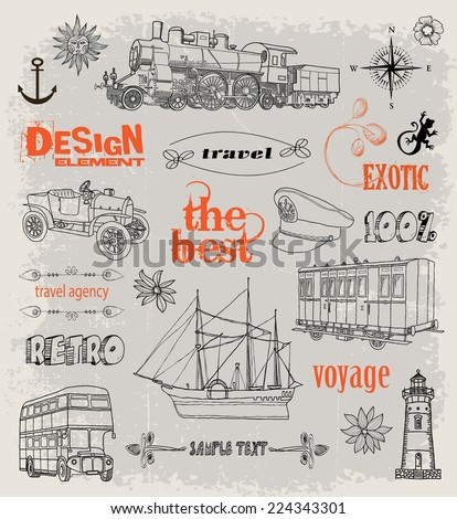 Vintage design elements. Transport and Travel - stock vector