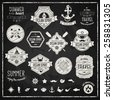 Vintage design elements. Vector illustration. Retro chalk style typographic labels, tags, badges, stamps, arrows and emblems set. Summer and traveling collection. Marine symbols. - stock vector
