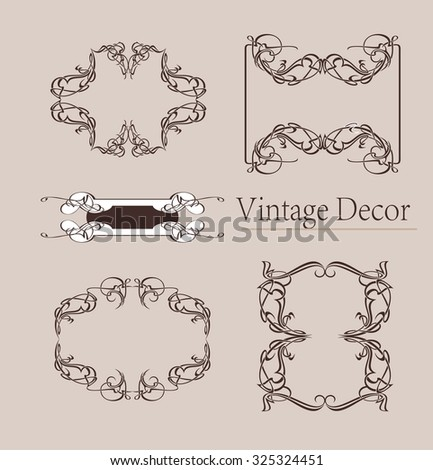 Vintage design elements vector set. Lots of useful elements to embellish your layout - stock vector
