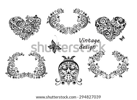 Vintage design floral hearts and frames - stock vector
