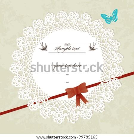 Vintage design invitation/greeting card - stock vector