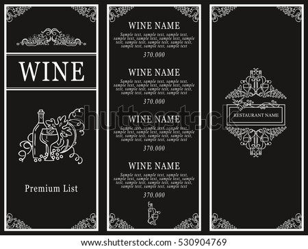 Vintage Design Of Restaurant Menu. Wine List Or Card Collection, Cover And  Page For  Free Wine List Template
