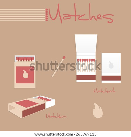 Vintage design set of matches.There are matches, matchbox and matchbook. - stock vector