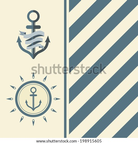 Vintage Design Template With Anchor - stock vector