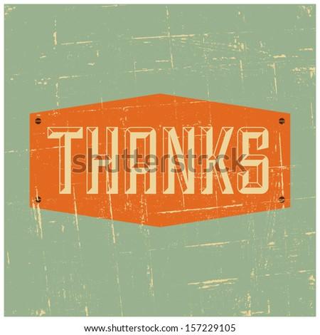 Vintage design Thank You card. - stock vector