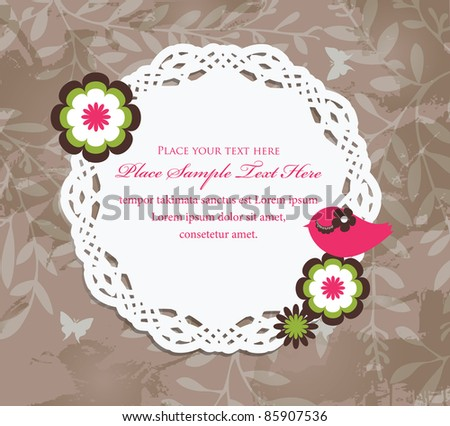 Vintage design with litter bird - stock vector