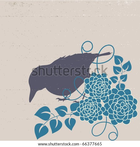 Vintage designed bird with flowers - vector background - stock vector