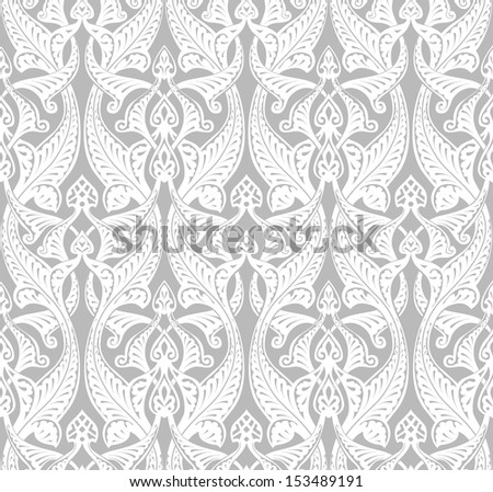 Vintage detailed seamlessly tilable repeating Art Nouveau motif background pattern - stock vector