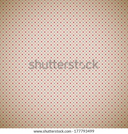 Vintage different vector pattern (tiling). Endless texture for wallpaper, fill, web page background, surface texture. Monochrome geometric ornament. Beige, red shabby colors. Flower and dot shapes - stock vector