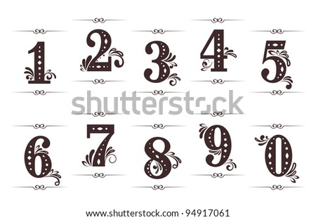 Vintage digits and numbers set with dividers isolated on white background. Jpeg version also available in gallery - stock vector