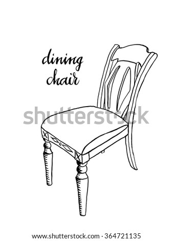 Vintage Dining Chair Furniture Interior Design Elements Hand Drawn Ink Sketch Illustration