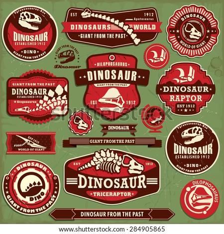 Vintage dinosaur label design set  - stock vector