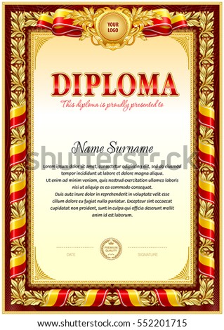 Vintage diploma template with hard frame border, floral design element and ribbons: red color gamma.