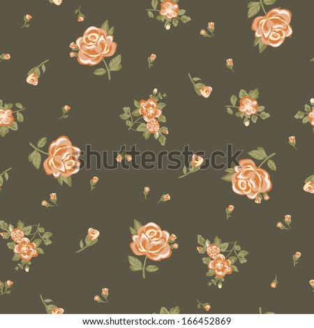 vintage ditsy rose print - stock vector