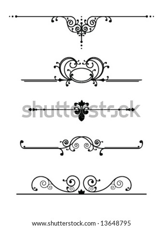 Vintage dividers set - stock vector