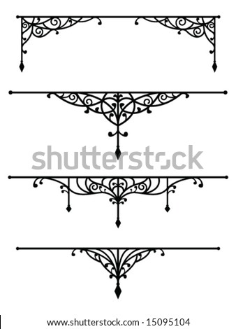 Vintage dividers set 3 - stock vector