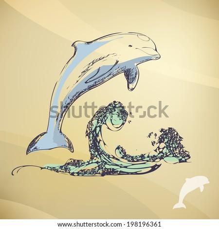 vintage dolphin - stock vector