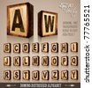 Vintage Domino Style Alphabet 3D with distressed antique look. Shadows are transparent so ready to be placed everywhere - stock photo