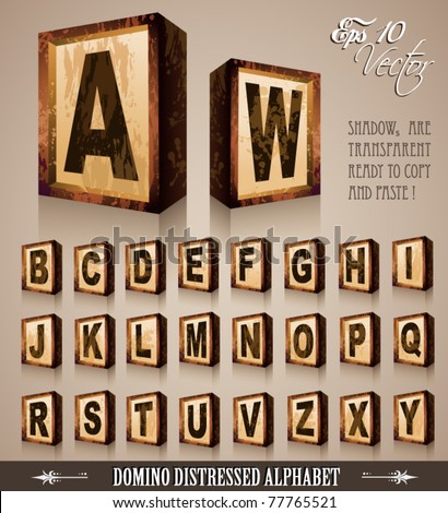 Vintage Domino Style Alphabet 3D with distressed antique look. Shadows are transparent so ready to be placed everywhere - stock vector