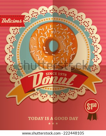 Vintage Donut Poster - stock vector