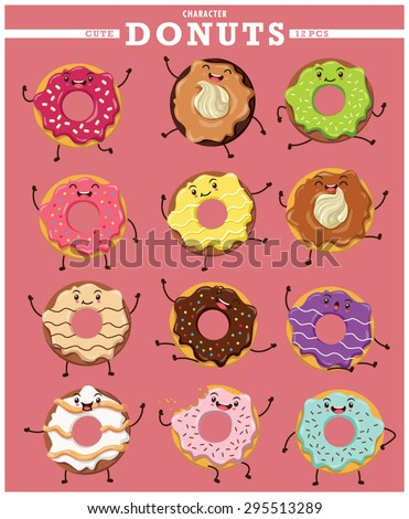 Vintage donuts character poster design set - stock vector