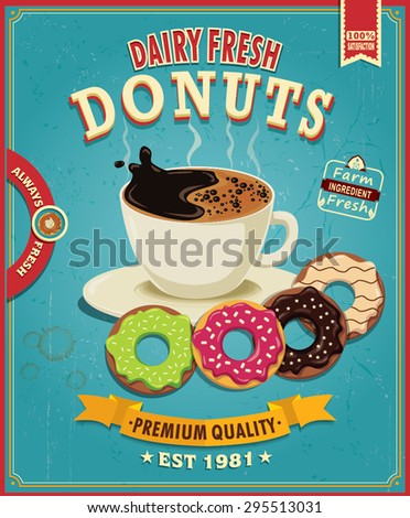 Vintage donuts with coffee poster design - stock vector