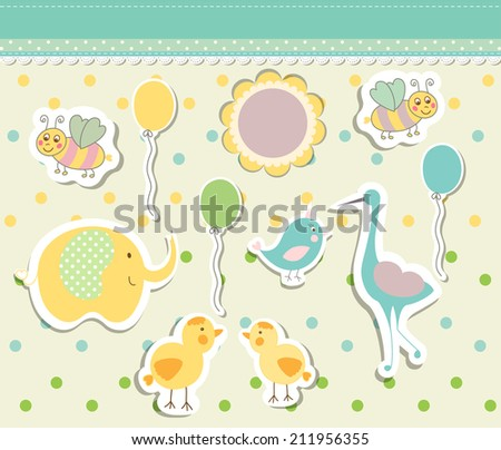 Vintage doodle baby toys for greeting card vector eps 10 - stock vector