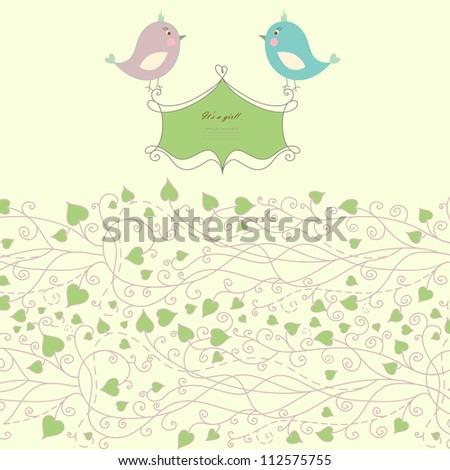 Vintage doodle bird for frame vector eps 8 - stock vector
