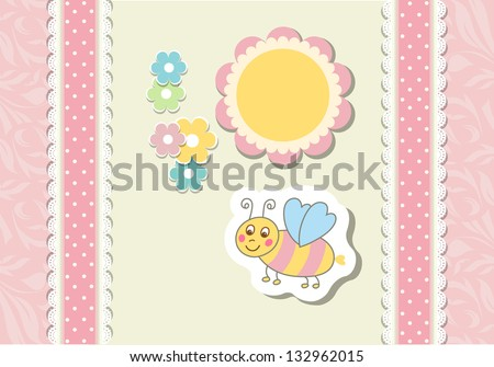 Vintage doodle little bee for greeting card vector eps 10