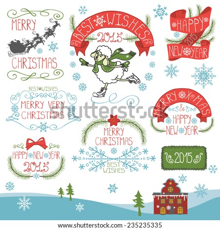 Vintage Doodles Merry Christmas,New Year Calligraphic And Typographic badges,labels  With Chalk Word Art,ribbons,snowflakes,swirls,spruce.Sheep year.Colored Vector - stock vector