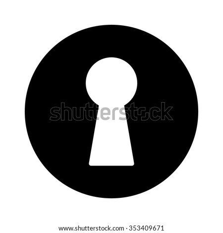 Vintage door keyhole access flat icon for apps and websites - stock vector
