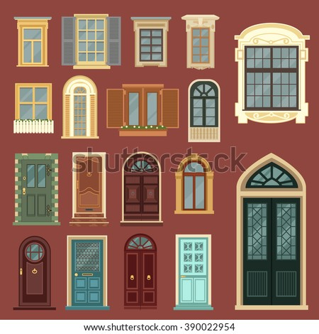 Vintage Doors Detailed Windows European Architecture Stock